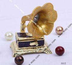 Gold Phonograph 70x50mm Handcraft Jewelry Gift Box Enamel Trinket Beading Supplies