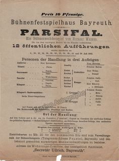 Parsifal Playbill 1883 with World Premiere Cast