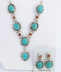 Navajo turquoise necklace and earring set. Kokopelli Traders - Native American Jewelry