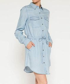 This Light Blue Denim Drawstring-Waist Flap-Pocket Shirt Dress is perfect! #zulilyfinds