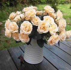 GNW FL-RS30-12-5CM Wholesale High similation 12x heads bouquet artificial flower Silk champagne Rose