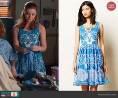 8c20762cb1 AnnaBeth s blue and white printed dress and bead embellished cardigan on  Hart of Dixie