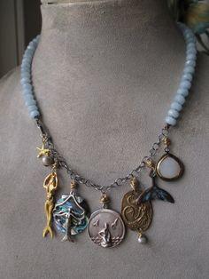 Aquamarine charm necklace Boho Treasury 'MERMAID by slashKnots