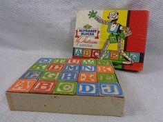 Vintage Alphabet Blocks, Complete Children's Set Of Wooden Blocks by FairchildsInc on Etsy