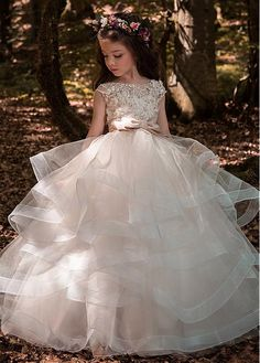 Buy discount Pretty Tulle & Elasticated Net Bateau Neckline Ball Gown Flower Girl Dresses With 3D Lace Appliques & Beadings & Belt at Dressilyme.com