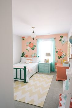 Girl's bedroom inspired by Rifle Paper Co. by Design Loves Detail (via House of Turquoise). Audrey's room with coral Room, Room Design, Home, Girls Bedroom Furniture, Toddler Bedrooms, Room Decor, Small Bedroom, Bedroom Decor, Toddler Rooms