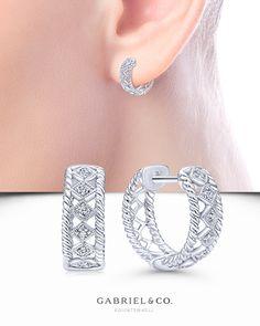 Hoop-inspired hook earrings with slender spikesImported Diamond Hoop Earrings, Diamond Jewelry, Gold Jewelry, Jewelery, Bridal Jewelry, Ear Jewelry, Jewelry Gifts, Fine Jewelry, Fashion Earrings
