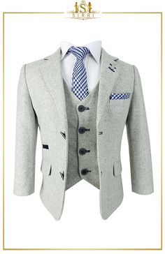 Stylish and sophisticated, you can't go wrong with this lovely Creon Previs boys wool mix suit. Made from a beautiful cool latte coloured wool blend, it is a gorgeous suit that ticks all the boxes. Both the waistcoat and jacket are fully lined ensuring a comfortable quality fit. Shop now at SIRRI kids #boys formal wear #kids suits #page boy outfits