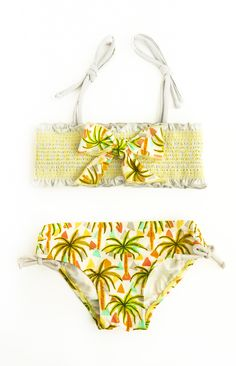 Palm Tree Smocking Top Bikini, YELLOW – Floatimini