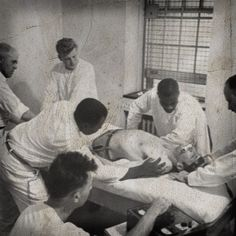 Patient, surrounded by men in white, receiving electric shock treatment Herbert Gehr, LIFE Magazine) Insane Asylum Patients, Worcester State, Shock Treatment, Abandoned Asylums, Abandoned Places, Abandoned Houses, Mental Asylum, Psychiatric Hospital, Psy Art