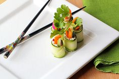 Zucchini Sushi Rolls - would probably use herbed cheese spread versus filling in the recipe