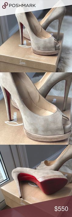 Palais Royal Trepointe Louboutin Beige suede peep toe Christian Louboutin pump. Size 38. Worn minimal times, with slight scuffs due to fabric. Christian Louboutin Shoes Heels