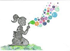 Unique GIRL Blowing BUBBLES Original Art Print 8x10 VIBRANT Color - Sharpie Art - Zentangle Camera - Bubbles Rainbow Girl Summer