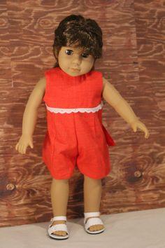 American Girl Doll Red Romper by PrairieWindGirls on Etsy,