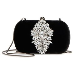 Women's Badgley Mischka Aurora Clutch (€205) ❤ liked on Polyvore featuring bags, handbags, clutches, borse, black, purse clutches, crystal purse, handbag purse, hand bags and vintage inspired handbags
