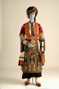Costumes/ Components - Museum of Modern Greek Culture Greek Traditional Dress, Traditional Art, Traditional Clothes, Historical Costume, Historical Clothing, White Satin Dress, Rare Clothing, Greek Culture, Festival Costumes