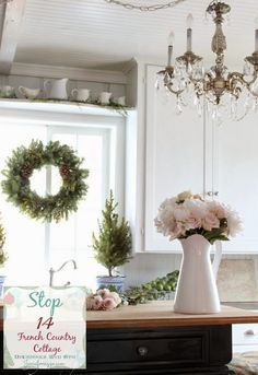 pitchers on the shelf above the kitchen sink - FRENCH COUNTRY COTTAGE: Decking the halls ~Holiday Housewalk Home Tour
