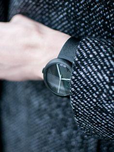 Objest Hach Watch - Charcoal case, black leather strap. Swiss Made, 40 mm case, 50m water resistance 2 year warranty £279. http://objest.com