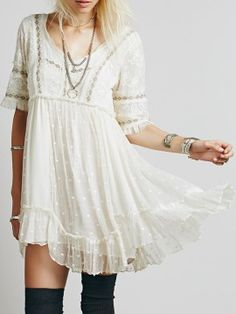 2d3f5c3077618 Shop White V Neck Lace Embroidery Ruffle Hem Dress from choies.com .Free  shipping