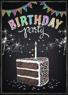 Birthday Party Chalkboard Art Chalkboard Doodles, Blackboard Art, Chalkboard Writing, Chalkboard Drawings, Chalkboard Lettering, Chalkboard Designs, Chalkboard Party, Happy Birthday Chalkboard, Happy Birthday Decor