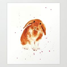 bunny, rabbit painting, lop eared bunny, fluffy bunnykins, bunny lover gift Art Print by Eastwitching - $18.00