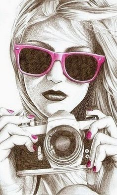 Camera drawing with a splash of pink