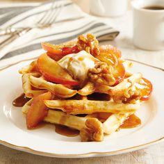 Caramelized Apple & Walnut Belgian Waffles with Mascarpone: Top with hot apples, butter, cinnamon, walnuts and maple syrup with a spoonful of creamy mascarpone or whipped cream.