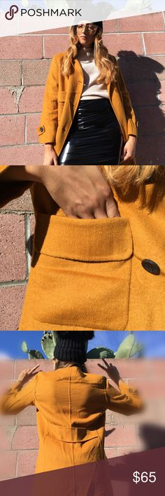🆕 Mustard yellow Zara coat Classic double breasted yellow mustard  pea coat with two pockets. Perfect coat for any Autumn event!!   •56% Polyester •44% Wool Zara Jackets & Coats Pea Coats