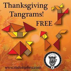 Thanksgiving/Autumn Tangrams (free; from Z is for Zebra on TpT)