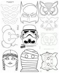 Collection of carnival masks - Letölthető sablonok papírálarcokhoz 2016 Diy For Kids, Crafts For Kids, Diy And Crafts, Paper Crafts, Pattern Coloring Pages, Carnival Masks, Coloring Books, Disney Characters, Fictional Characters