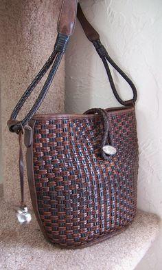 vintage BRIGHTON woven leather bucket shoulder handbag purse bag. $36.00, via Etsy.