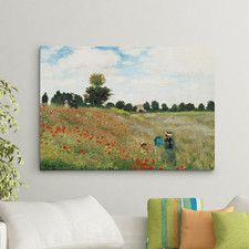 'Wild Poppies Near Argenteuil' by Claude Monet Painting Print on Canvas