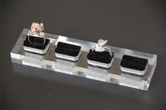 3x Ring Stand Display Holder Acrylic JEWELLERY SHOWCASE Countertop 4 Velvet Slot