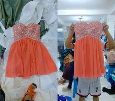129.00$  Buy now - http://vixwn.justgood.pw/vig/item.php?t=8el0a631390 - Custom Orange Beads Short Chiffon Homecoming Dress/Party/Cocktail/Formal Dress