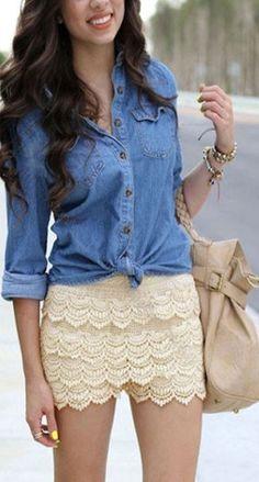 Denim top + crochet shorts