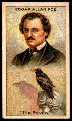 "(Millhoff Cigarettes, Men of Genius, - Edgar Allan Poe - The Raven. ""Quoth the raven, 'Nevermore! Edgar Allan Poe, Quoth The Raven, Allen Poe, Crows Ravens, Rabe, Portraits, Book Authors, Books, Vintage Ephemera"