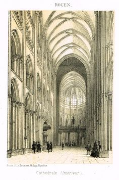 """Cathedrals in Rouen, France - """"CATHEDRALE (INTERIEUR)"""" - Tinted Engraving - c1860"""