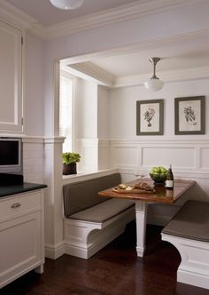 Inspiration for breakfast nook with board and batten paneling in our vintage old rehab house's laundry room