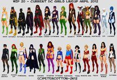 DC comics women line up Heros Comics, Comics Girls, Dc Heroes, Ms Marvel, Marvel Dc Comics, Dc Comics Art, Comic Book Characters, Comic Character, Female Characters