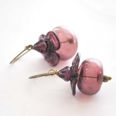 Plum Flower Glass Earrings by bstrung on Etsy, $28.00