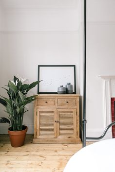 Wooden Cabinet And Monochrome Print - Calming Bedroom In A Characterful Edwardian Semi Detached Property Bedroom Built In Wardrobe, Closet Bedroom, Home Decor Bedroom, Master Bedroom, Victorian Bedroom, Edwardian House, Edwardian Style, Hallway Colours, Wall Colours