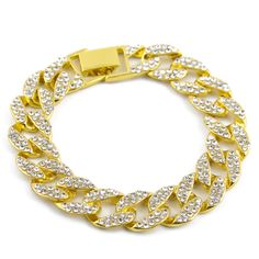 f78aabbb2 iftec Golden Women Men Charm Simulated Stone Miami Cuban Bracelets Iced Out  Bling Rhinestone Chains Hip. Metal BraceletsCrystal ...