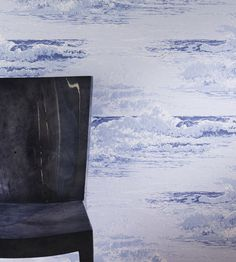 Marmara Wallpaper from the Pasha Wallpaper Collection by Osborne & Little, featuring crashing waves, printed in violet and pale blue. Add coastal style to your interiors today. Coastal Wallpaper, Waves Wallpaper, Osborne And Little Wallpaper, Made To Measure Curtains, Crashing Waves, Wallpaper Online, Enchanted Garden, Blue Tones, Rest Of The World
