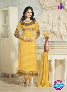 SC 12654 Yellow Georgette Straight Suit