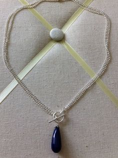 Silver Convertable Necklace with Dark Blue SemiPrecious by lsumida, $21.00