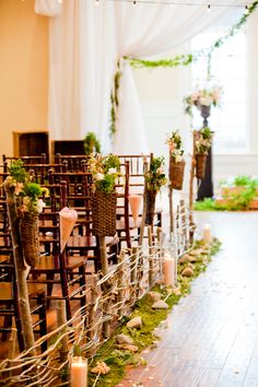 Rustic Perfection - Wedding Aisle Decor great idea for a Wedding in the local hall