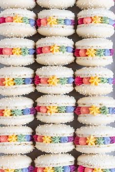 Macarons (Vanilla Bean Macarons with Vanilla Bean Swiss Meringue Buttercream) — Cloudy Kitchen - You can find Macaroons and more on our website.Macarons (Vanilla Bean Macarons with Vanilla Bean Swiss Meringue Buttercream) — Cloudy Kit. Macaroons, Macaron Cookies, Macaron Cake, Delicious Desserts, Dessert Recipes, Yummy Food, Cookie Recipes, Kreative Desserts, Vanilla Macarons