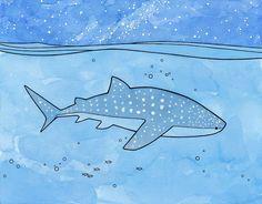 Whale Shark Illustration, Girls or Boys Room Decor Art Print