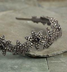 Deepa Gurnani Crystal Laila Headband In Gold or Gunmetal
