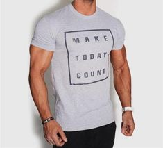"""Men's Fashion """"Make Today Count"""" Casual T-Shirt Gold Today, Gold Gifts, Casual T Shirts, Sleeve Styles, Count, Men's Fashion, Fabric, Mens Tops, How To Make"""